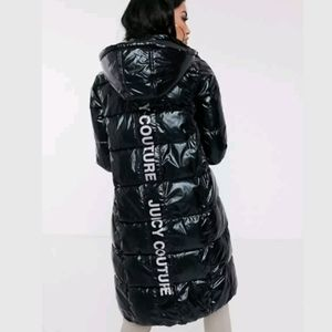 Juicy Couture Longline Padded Jacket With Logo Bac